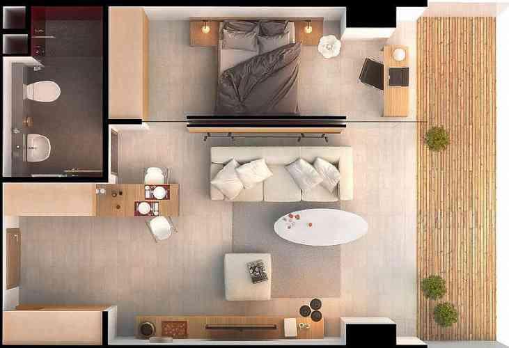 Ideal Storage Micro Apartment Bird-Eyes View